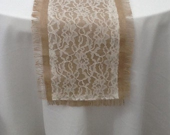 Burlap Table Runner With Lace And Frayed Edge, Wedding, Party, Home Decor,