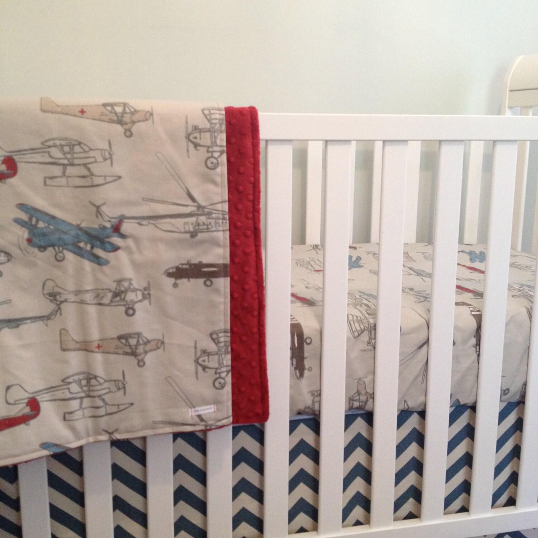 Airplane Crib Bedding. Bumperless Baby Bedding. Retro Airplane