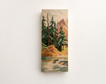 "Paint by Number Large 6"" x 14"" Art Block 'Mountain Evergreens' - vintage landscape, image transfer"