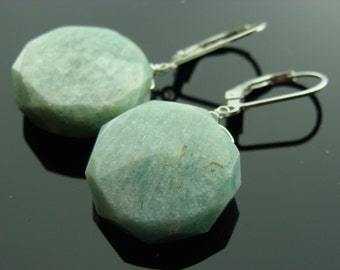 Amazonite Large Round Sterling Silver Leverback Earrings
