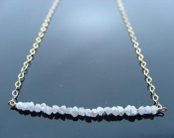 Genuine White Raw Rough Diamond 14k Gold Filled Necklace