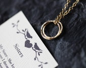 SISTERS Gold Necklace with Poem, Connected Rings, Inseparable Hammered Circles Gold Infinity Necklace, Sisters Forever