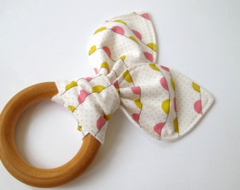 Baby Girl Wooden Teething Ring - Cream and Pink Banner Fabric by Riley Blake - Organic Flannel Backing