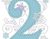 Frozen Swirls Birthday Numbers , with wide pearl stitch, machine embroidery applique designs 4x4 and 5x7 INSTANT DOWNLOAD
