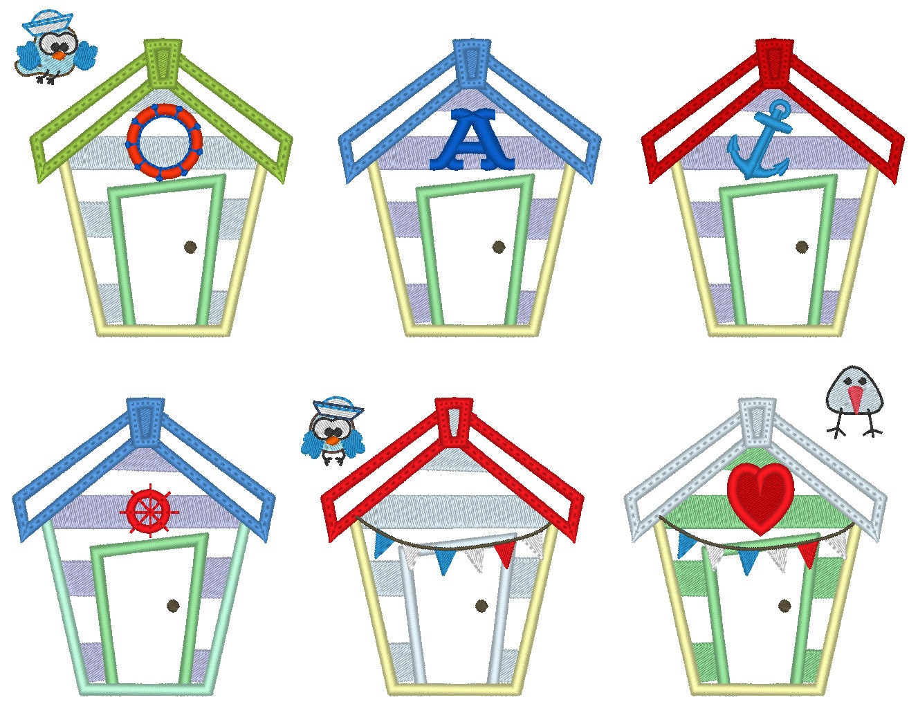Beach houses set 6 little different types and birds for Beach house embroidery design