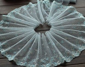 2 Yards Lace Trim Flower Embroidered Light Cyan Tulle Lace Trim 7.87 Inches Wide High Quality