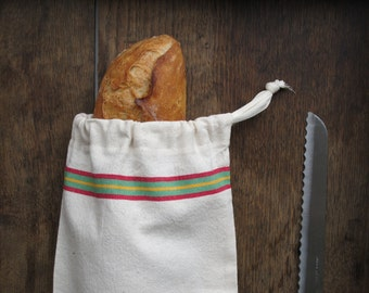"Baguette Bred Bag in antique french linen -Swedish Bread Bag -- Baguette Size- french ""baguette"" Bag or Wine bag"