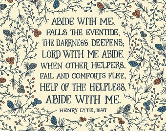 Abide with me; falls the eventide - Floral Hymn Wall Art Print, folk art pattern, inspirational quote, christian hymn, pastor gift