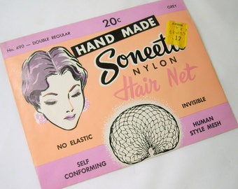 Vintage Soneeta Nylon Hair Net Hand Made No 490 Double Regular Grey In Original Package NOS