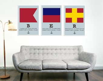 Berlin Print, Home, Living Room Decor, Nautical Poster, City Map, Modern Art Print, Gift, Gifts for Him, Gifts for Her, Flag