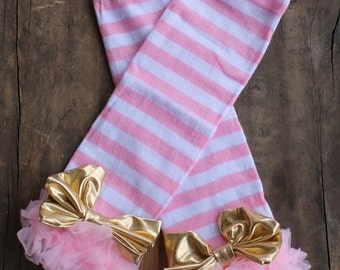 Pink Striped Leg Warmers with Gold Bows - Pink and Gold - Pink and Gold Birthday - Leg Warmers