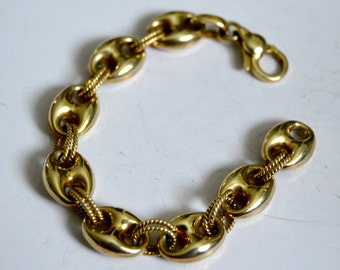Sterling Marier Anchor Link Bracelet Small gold vermeil Italy