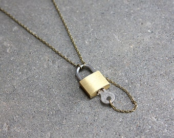 Lock and Key Lariat Necklace