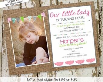 party invitations first birthday invitation bow tie tutu necktie little lady little gentleman burlap bash (item 280) shabby chic invitations