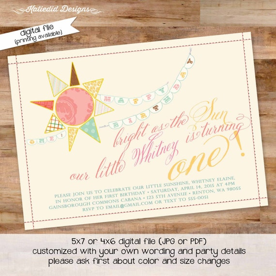 sunshine birthday invitation brighter than the sun you are my sunshine gender reveal baptism christening (item 230) shabby chic invitations