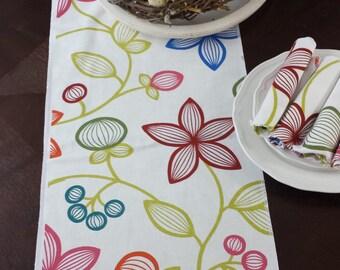 Bright table runner, floral runner,  spring, easter, hostess gift,
