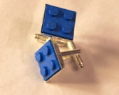 Blue Lego Cuff Links - Silver plated