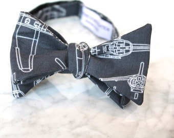 Helicopter Bueprint Bow Tie - Groomsmen and wedding tie - clip on, pre-tied with strap or self tying