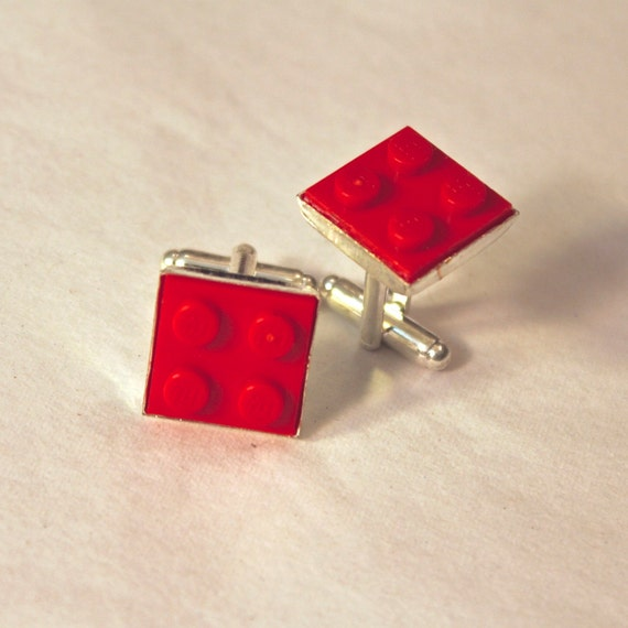 Red Square Lego Cuff Links - Silver plated