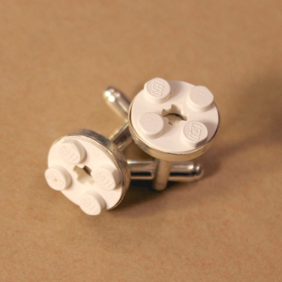 White Round Lego Cuff Links - Silver plated