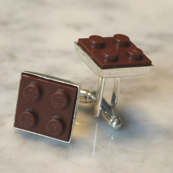 Brown Lego Cuff Links - Silver plated - Groomsmen gift, Birthday gift - Geeky Accessory