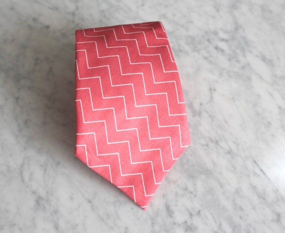 Necktie in Pink Coral Chevron - wedding - groom, groomemen, ring bearer
