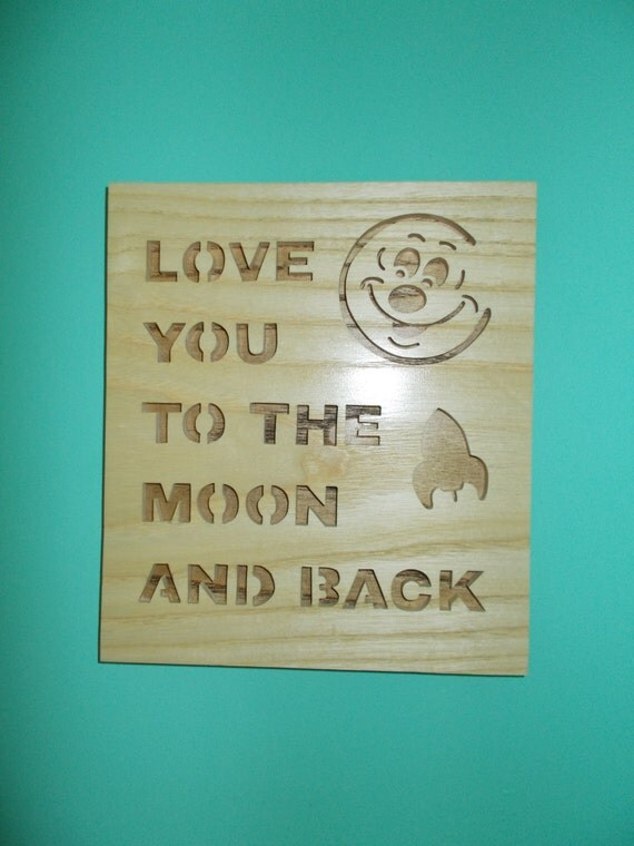i love you to the moon and back wall hanging wall sign decor. Black Bedroom Furniture Sets. Home Design Ideas