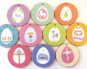 Lenten Spring Holy Week Easter Ornaments with TREE -  READY to SHIP