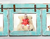 Barnwood Collage Turquoise Frame 3) 8x10 Multi Opening Frame-Rustic Picture Frame-Landscape or Portrait-Collage Frame-Collage Frame