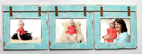 barnwood collage turquoise frame 3 5x7 multi opening frame rustic picture frame reclaimed