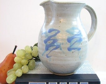 Vintage Modern Abstract Studio Art Pottery Drink Pitcher, Vase ... Matte Periwinkle and Aqua on Light Gray, Artisan Crafted, Hand Thrown