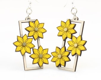 Kinetic Flower Gear Earrings - laser Cut from Reforested Wood