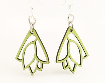 Leaf Bouquet Blossoms - Wood Earrings