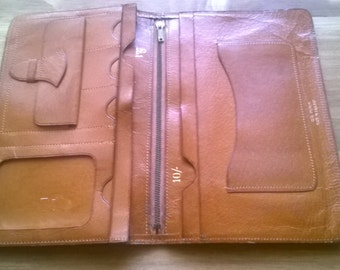 Vintage English brown real pigskin leather wallet circa 1960's / English Shop