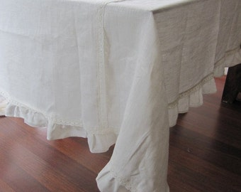 Custom ruffled tablecloth 120 inch large wide linen rectangle, white ivory shabby chic cotton lace Holidays entertaining FRENCH country home