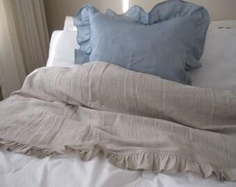 Ruffled top sheet shabby chic country style oatmeal or ivory cotton blend linen Turkish Odemis fabric-blanket sheet-Nurdanceyiz