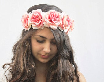 Coachella, Coral Pink Rose Crown, Pink Flower Crown, Festival Clothing, Coral Pink Rose Headband, Pink Floral Crown, Pink Rose Crown