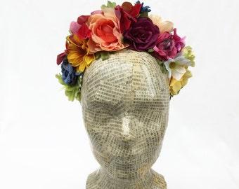 Day of the Dead Headpiece, Frida Kahlo  Headpiece, Mexican Flower Crown, Headband, Floral Crown, Flower Headband,  Frida Costume, Boho