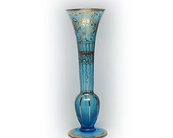 Lovely Blue Gilded Glass Vase