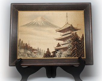 Japanese Embroidered and Stitched Landscape on Silk