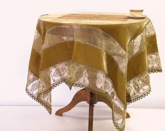 Opulent Velvet Tablecloth bronze color Silk Velour  Appliqued Golden Laces luxury table topper eclectic decoration Christmas gift for home