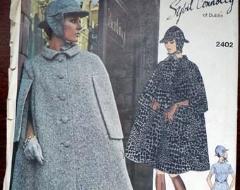 Vintage 60s Vogue Couturier Design Sewing Pattern Sybil Connolly 2402 Dress Cape Hat