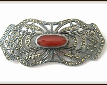 Vintage Sterling Silver Art Deco Marcasite Carnelian Pin, Brooch, Sweater accessory, shawl pin, Coat pin