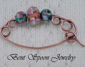 Copper and glass Beaded Shawl Pin, Fibula, Scarf Pin, Shrug Pin, Kilt Pin, Shawl Accessory, Knitting accessory