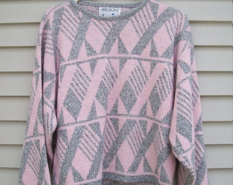 80s Pink And Gray Cropped Geometric Sweater Size Small / Medium