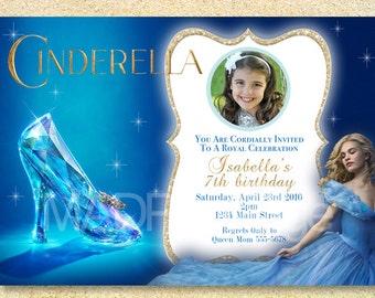 Cinderella Party Printable, Cinderella Birthday Party Invitation, Cinderella 2015 Movie, Cinderella Photo invite, Birth Announcement, Baby