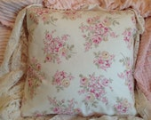 Shabby Chic pillow cover Rachael Ashwell pink roses on white poplin