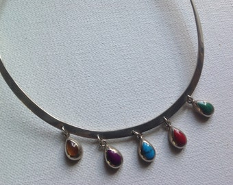 Sterling silver collar necklace with 5 semi precious gems     VJSE