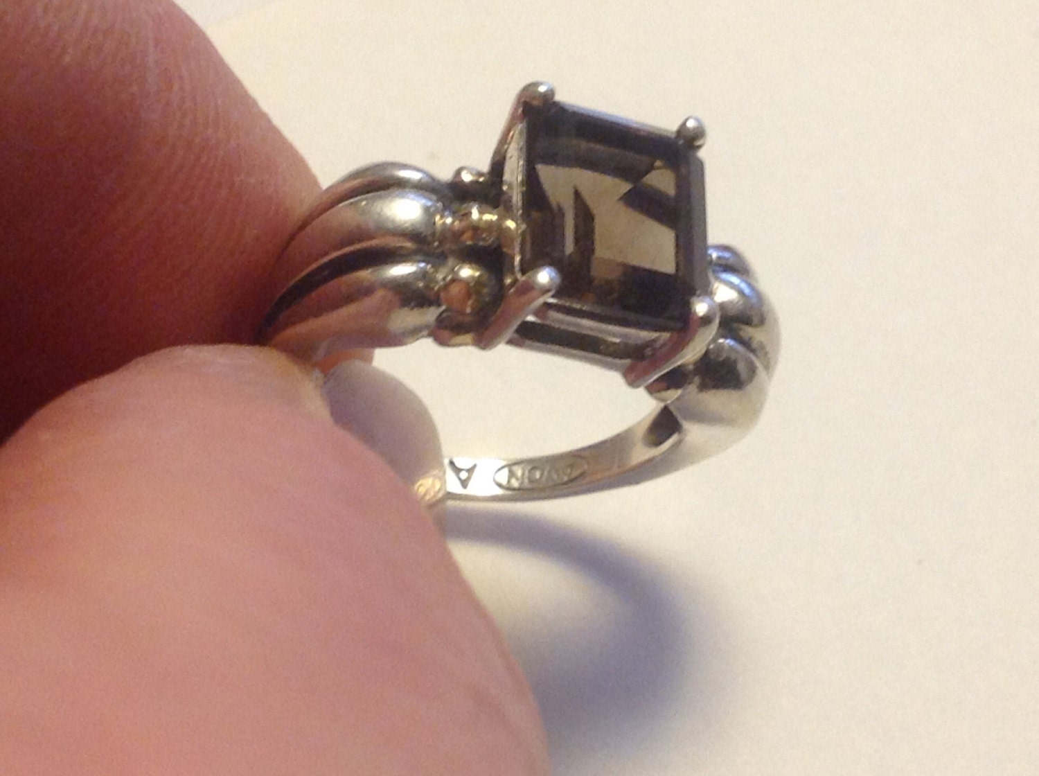 sterling silver avon ring with amethyst color vjse