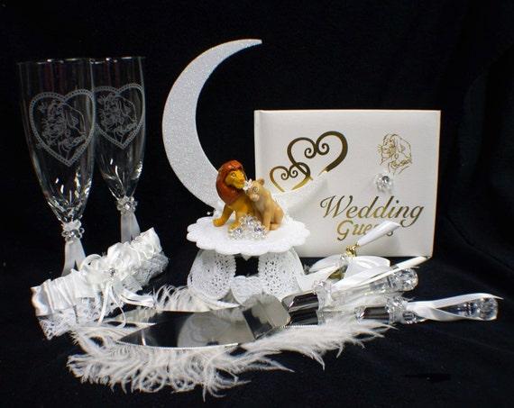 Lion King DISNEY Wedding Cake Topper LOT Glasses Knife guest